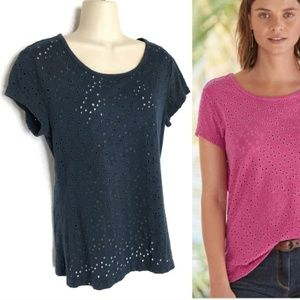 Sundance All About Eyelet Navy T-shirt Sz XS/S